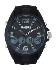 REACTION KENNETH COLE BLACK,SILICONE,DUAL TIME ANALOG,DIGITAL WATCH RK50176001