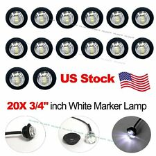 "20X 3/4"" 12V White LED Clearance Marker Bullet Truck Trailer Lights Lamp US Ship"