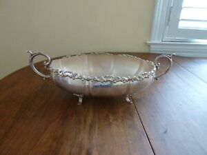 """OUTSTANDING CAMUSSO PERU STERLING SILVER 14"""" SERVING FOOTED BOWL 425 grams"""