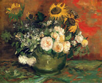 Van Gogh Bowl With Sunflowers Roses Art CANVAS Print Painting Decor Small 8x10