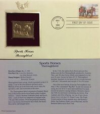 Sports Horses Thoroughbred 22kt Gold Foil Replica FDC