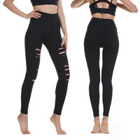 High Waist Womens Yoga Leggings Ripped Fitness Gym Workout Athletic Sport Pants