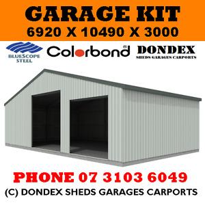 DONDEX SHEDS Large Garage Shed Kit 7x10.5x3.0 Colorbond Roof, Walls & Doors
