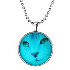 GLOW IN THE DARK CAT LARGE PENDANT NECKLACE / Jewellery Gift Idea Womens Kids