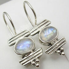 925 Sterling Silver BLUE FIRE RAINBOW MOONSTONE BESTSELLER Earrings 1 3/8 inches