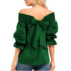 Women Off Shoulder Boho Bowknot Top Loose Flare Sleeve Casual T Shirt Blouse Tee