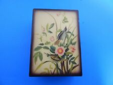 Vintage Hand Painted Wooden Musical Jewelry Box Seaside Sparrow Made in Italy