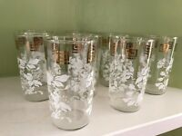 "lot of 8 vintage white floral 4.75"" drinking glasses with gold accent"