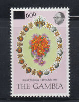 Gambia 1982 Surcharged Royal Wedding Sc 439  Mint Never Hinged