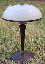 Verlys, rare lampe de bureau abat jour en verre moulé Art Deco, canards