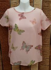 VERO MODA BNWT Ladies Pink Butterfly Print Sheer Blouse Top Size Small RRP £14
