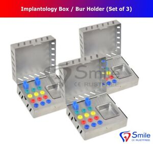 3 X Dental Surgical Instruments Empty Sterilization Box For Implant Tools Dental