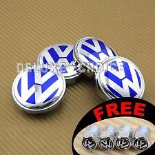 4 CAR ALLOY WHEEL RIM CENTER LOGO CAP HUB 56mm for VW VOLKSWAGEN BLUE 1J0601171