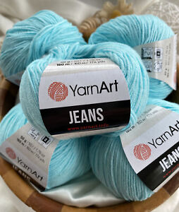 Yarn Art Jeans 5 X 50g Cotton/Acrylic Mix Knitting Crochet Wool/Yarn - Blue 76