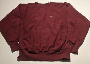 Vintage Champion Reverse Weave C Logo Maroon Pullover Sweatshirt Men's Large