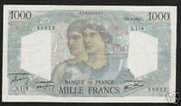 FRANCE 1000 1,000 FRANCS P130 1945 LARGE COLORFUL SCARCE MONEY BILL BANK NOTE