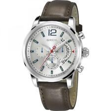 Mens Wristwatch BREIL MIGLIA TW1372 Chrono Genuine Leather Brown Silver Color
