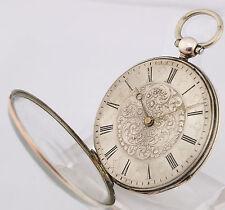 Berthoud a Paris argento orologio da tasca per 1860 con FLORAL ziseliertem quadrante