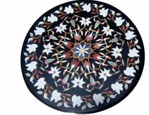 """30"""" Marble center round Table Top Inlay Work Handicraft Home Decor Garden"""