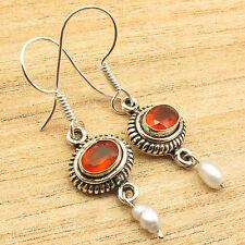 "RED FIRE CARNELIAN Earrings 1.5"" ! PEARL BEADED ETHNIC 925 Silver Plated"