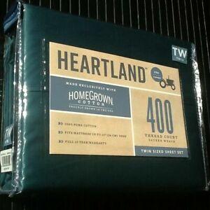 EMERALD GREEN Twin Sheet Set Heartland 400 TC HomeGrown Cotton Sateen NEW 3-pc