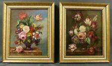 Paire de tableaux bouquets de fleurs 19ème