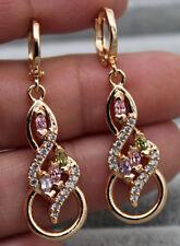 """18K Yellow Gold Filled - 1.6'' Swirl """"8"""" Hollow Amethyst Topaz Emerald Earrings"""