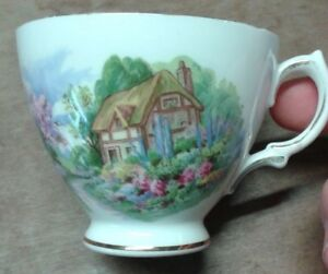 COTTAGE THEMED CUP x 2. Decorative Kitchen ware. Crown Royal & Royal Vale. B6
