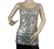Women's Sequin Spangle Vest Black Gold Top Sparkle Glitter New
