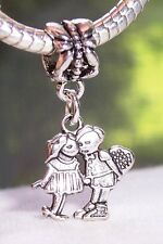Boy Girl Childhood Sweethearts Dangle Charm for Silver European Bead Bracelets