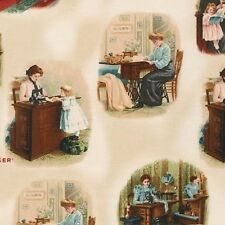 Vintage Color Image-Sewing with Singer by Robert Kaufman Fabrics HALF YARD