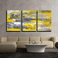 "Wall26- Grey and Yellow Abstract Art Painting- Canvas Wall Art- 24""x36""x3 Panels"