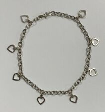 """Estate Jewelry Heart Detail Anklet 14K White Gold 10"""" Long"""