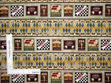 Golf Sport Golfing Tee Ball Border Stripe Cotton Fabric Benartex #0631 - Yard