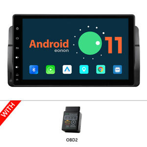 """OBD+ Android 11 Auto CarPlay 9"""" Car Stereo GPS BT for BMW E46 320 323 325 M3 DSP"""