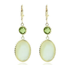 14K Yellow Gold Gemstone Earrings With Peridot and Mother Of Pearl