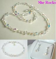 DESIGNER AB CRYSTAL BRIDAL JEWELLERY SET 925 SILVER necklace bracelet earrings