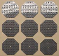 x9 NEW Lego Baseplate Modified 10 x 10 Octagonal w/ Hole DARK BLUISH GRAY