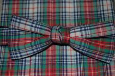 NWOT VINTAGE BLUE/GREEN/RED/WHITE Plaid Mens Tux cummerbund/banded bow tie set