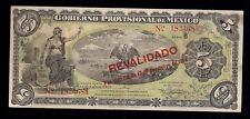 F.C. MEXICO, 5 PESOS, GOB. PROV. 1914. EBC+. S.702b.