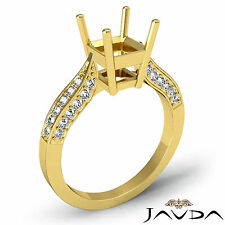 Solitaire Style Diamond Engagement Ring 18k Yellow Gold Asscher Semi Mount 0.4Ct