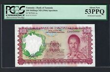 Tanzania 100 Shilling ND(1966) P4s Specimen Perforated About Uncirculated
