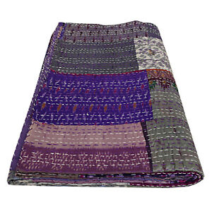Indian Silk Bedcover Purple Patchwork Quilt Decor Bedroom With 2 Pillows Covers