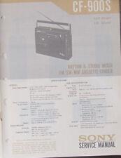 Sony CF-900S cassette radio service repair workshop manual (original copy)