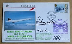 CONCORDE LONDON - BASEL/MULHOUSE 1986 COVER SIGNED CAPTAIN RILEY, BROWN & WITHEY