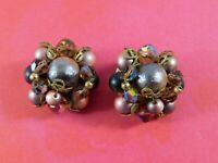 Vintage Beaded Cluster Clip Earrings Purple Pink