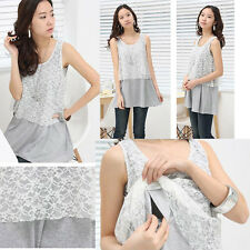 Breastfeeding Nursing Top Shirt  Tunic Sleeveless Lace Block Gray Comfy Elegant