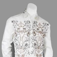 Men's Cotton Casual Embroidered Western Shirt #37 Color Black