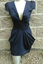 Australian CO-Lioness Sexy Navy Mini Dress AU Sz 10 US-6 Deep V on front.Pockets
