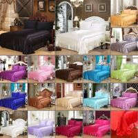 Silk Satin Bedding Flat Sheet Solid Bedspread Bed Sikrt Pillowcases Queen Size